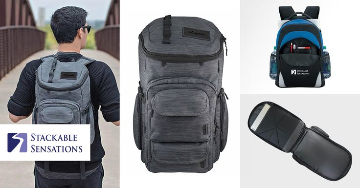 For the well-traveled employee: our TOP 3 backpack picks. Take your company logo on the road with checkpoint-friendly, high tech, and stylish designs. These personalized backpacks have everything but the jumpseat built in!