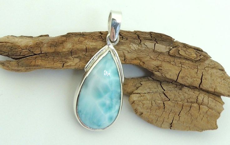 natural Larimar tear silver pendant,birthday stone,silver jewelry,healing stones,925 sterling silver, by Majlagalery on Etsy