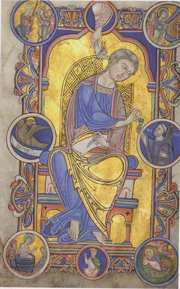 Saint Jean l'Évangéliste Évangiles de Liessies (fragments) Hainaut, Abbaye de Liessies, 1146 Peinture a tempera, encre et or sur parchem...