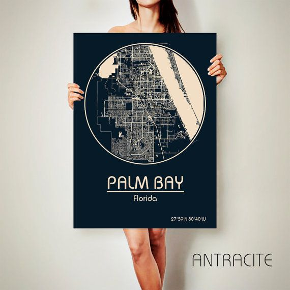 PALM BAY Florida CANVAS Map Palm Bay Florida Poster by ArchTravel