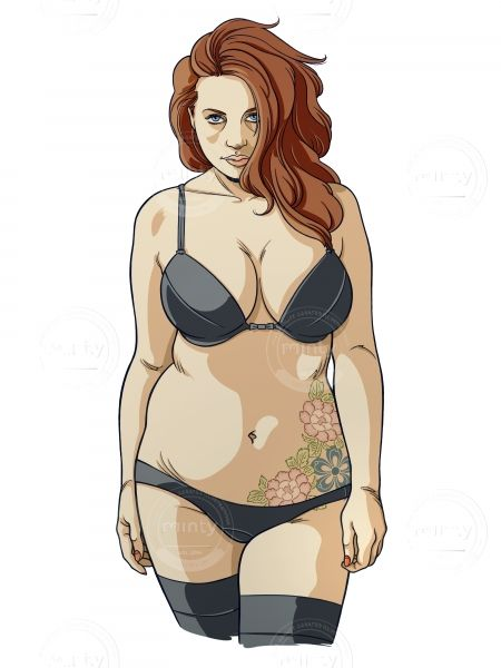 Red hair woman in lingerie with tattoo via mintystock.com