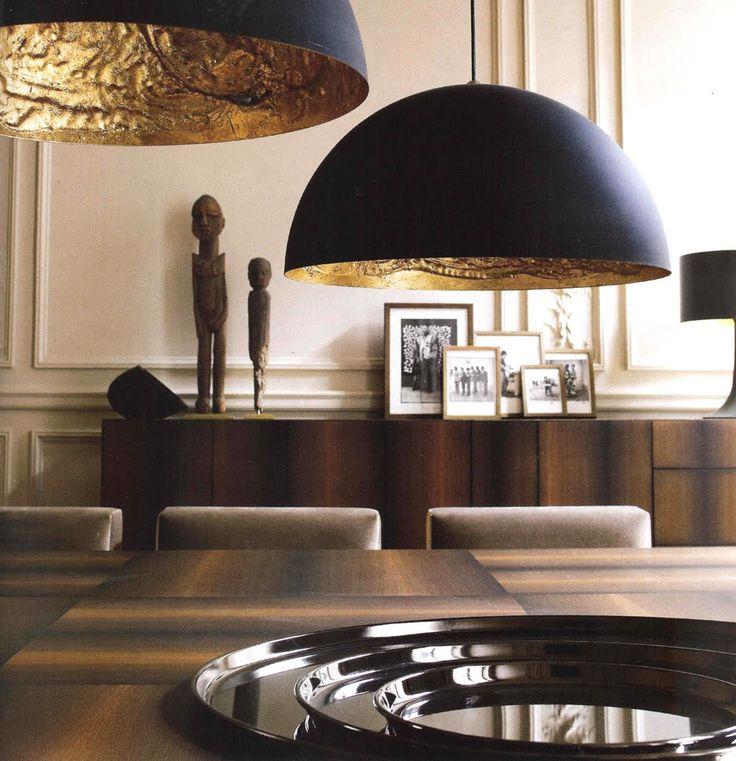 Haute Design by Sarah Klassen: Sumptuous Spaces / Paris #lighting #blackandgold #gilded