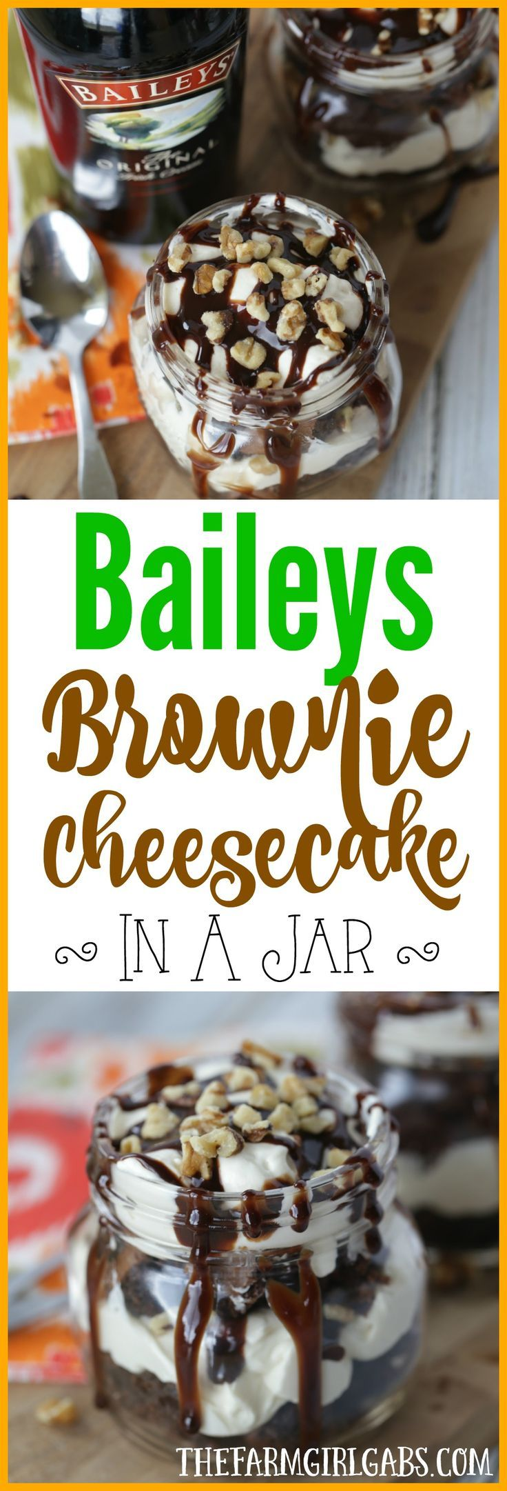 Celebrate St. Patrick's Day with a delicious no bake Baileys Brownie Cheesecake In A Jar. This recipe is decadent. The brownie and Baileys Irish Cream pair so well together. You can't go wrong with a Baileys Irish Cream and brownie dessert!