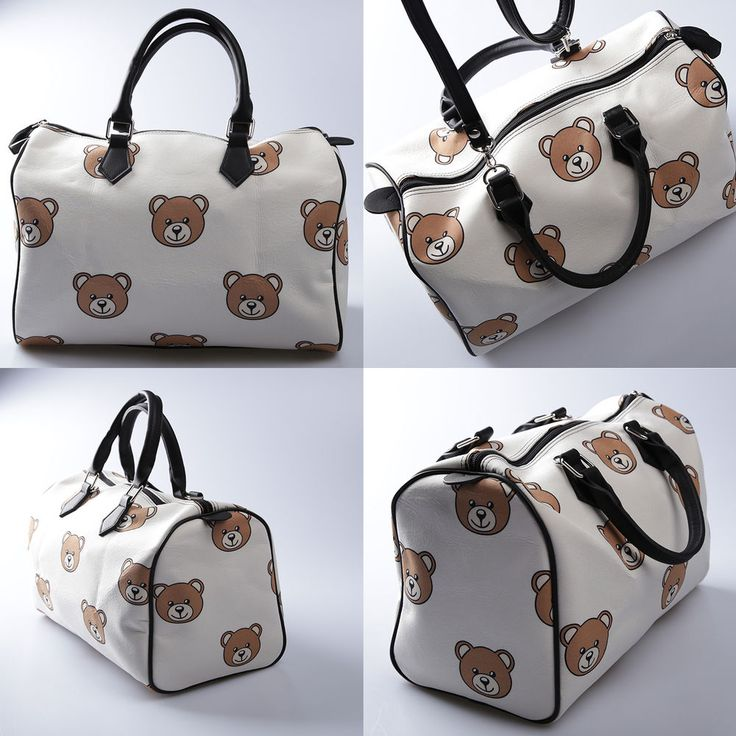 Korea POINT Boston Tote Cross Bag Handbag Polyester Faux Leather BEAR White NEW #KoreaBrand #TotesShoppers