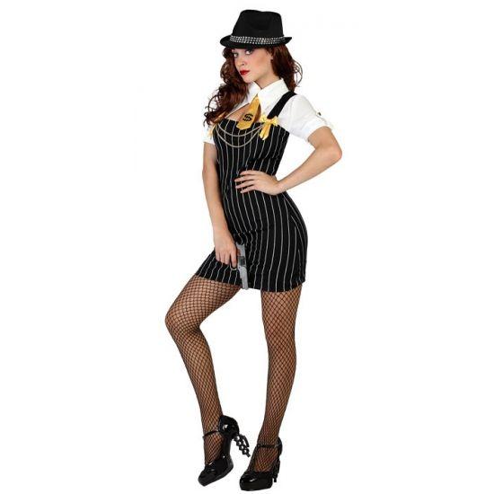 Gangster dames kostuum. Sexy gangster jurkje met krijtstreep en bijpassende das. Carnavalskleding 2015 #carnaval