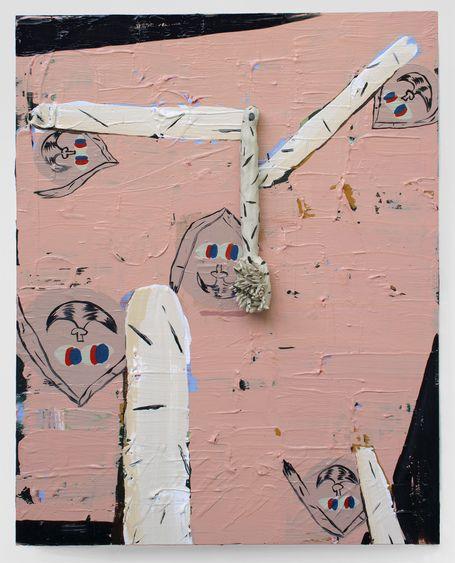 Bridget Mullen New Work Acrylic paint, spray paint, fired clay, glaze, panel