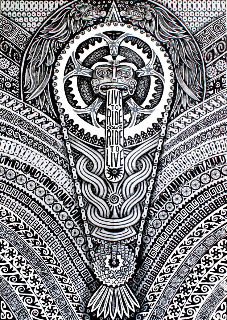 Intricate Aztec ink drawing from Cycology. Soon to be a new jersey design. #cycology, #jersey, #cycling,