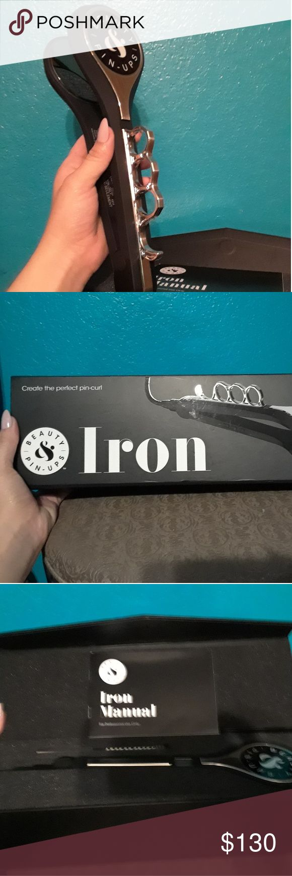 Brand New Pin Up Curl Iron Pin curl iron, new in box, cool brass-knuckle handle Beauty Pin Ups Other