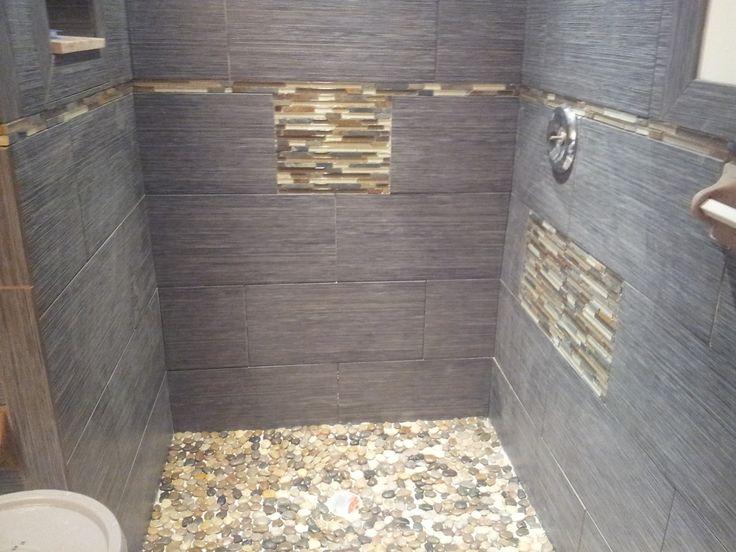 River Stone Floor And Porcelain Tile Walls In Margate Nj Glass Shower Installed Margat