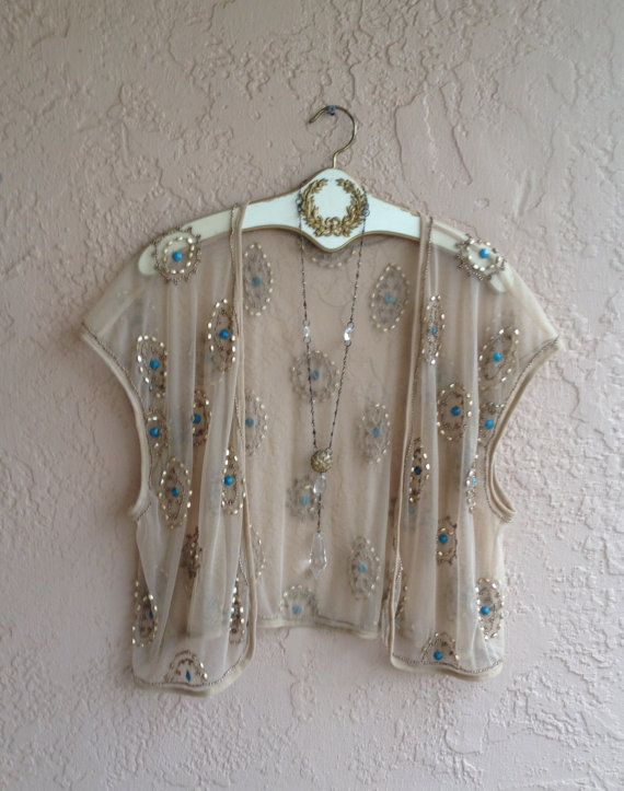 Sheer tribal ethnic Gatsby flapper beaded nude tulle by BohoAngels, $80.00