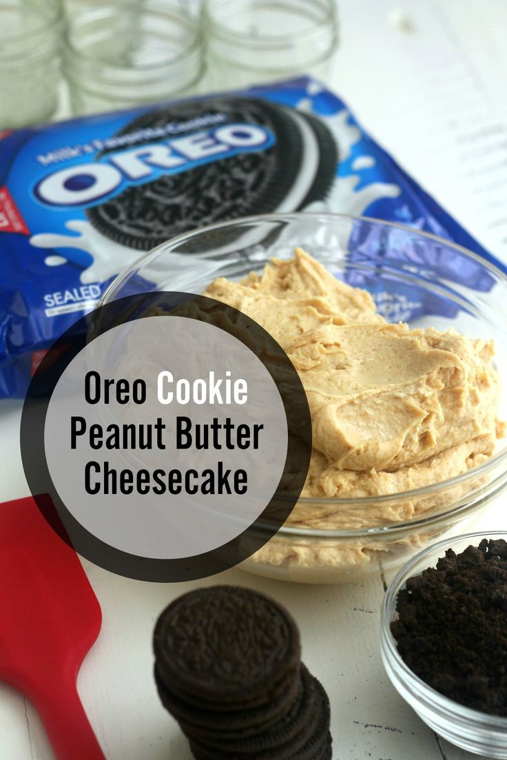 The yummy filling for OREO Cookie peanut butter cheesecake mason jars. These are a perfect back-to-school treat! [Sp]