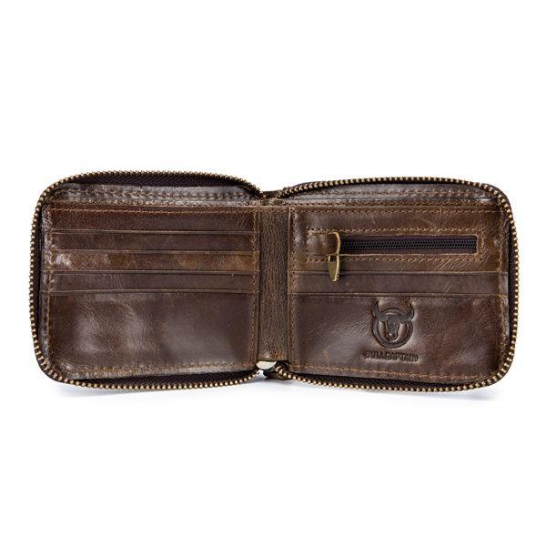 BULLCAPTAIN RFID Men Genuine Leather Antimagnetic Card Slots Coin Wallet Purse