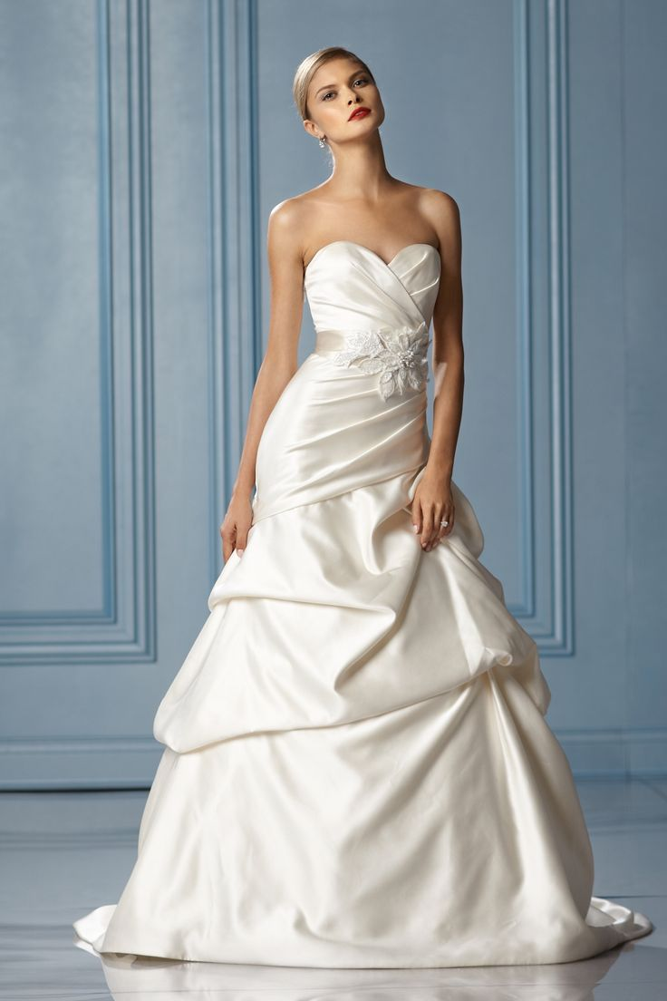 Fancy Blake Gown by Wtoo Strapless sweetheart neckline Draped bodice Pickup skirt Chapel train Flower sequin belt also available separately