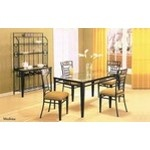 5 pc metal and glass dining table set with stone inlay on table and chairs - A.M.B. Furniture & Design