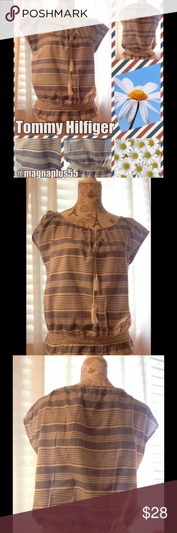 """TOMMY HILFIGER Short Sleeve Nautical Top M Blue Perfect for the beach and your summer parties! Measures approx 46"""" bust, 23"""" overall length, fabric is 100 cotton. EUC! Tommy Hilfiger Tops Blouses"""