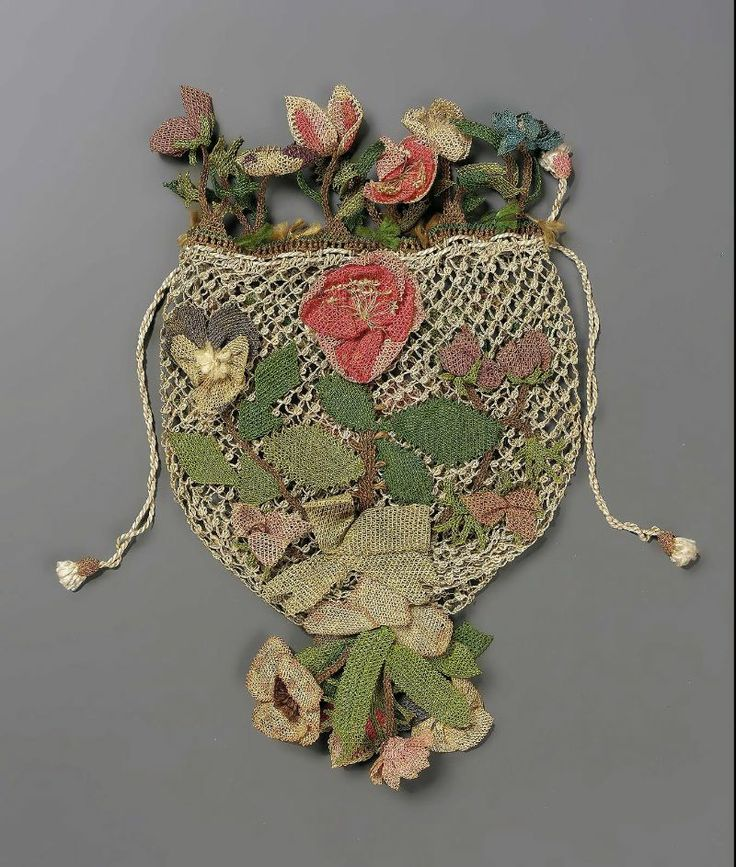 """Reticule, materials given as """"netting"""" (probably silk), date not given (I suspect early 19th century, but I wouldn't put money on it)."""