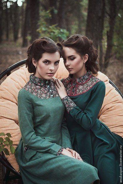 """Платье в пол """"Темно- зеленое """". Handmade."""