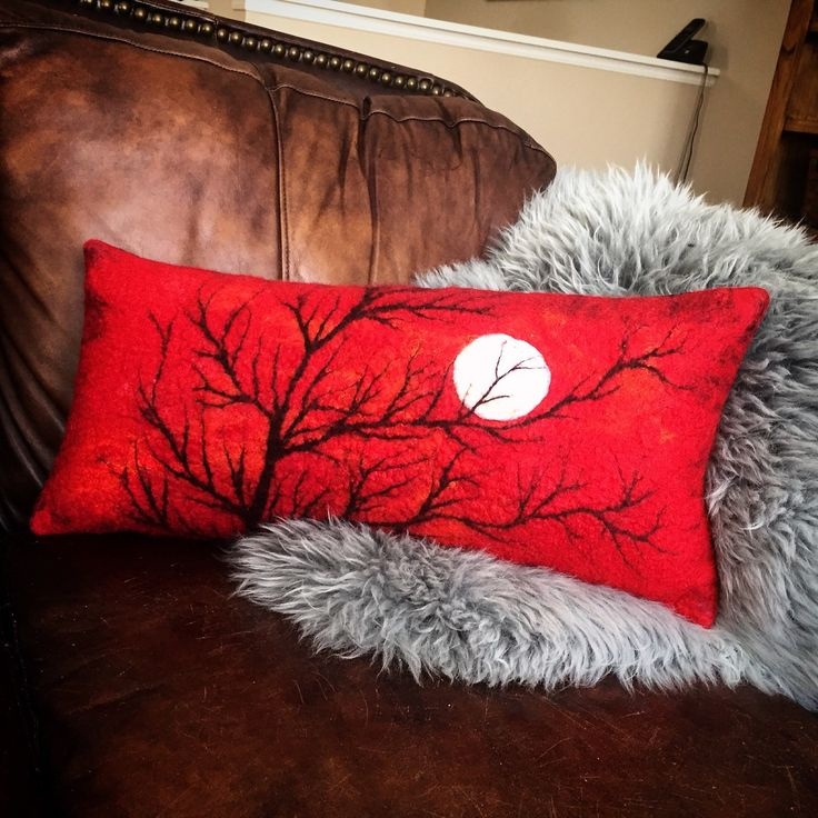 New in my shop! Felted Art Pillow Cover, Merino Wool, Silk, Red Sky, Winter Tree , Full Moon. Ready to ship.  https://www.etsy.com/listing/266460857/felted-art-pillow-cover-merino-wool-silk?utm_campaign=crowdfire&utm_content=crowdfire&utm_medium=social&utm_source=pinterest