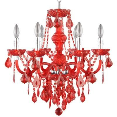Hampton Bay 6-Light Maria Theresa Chrome Red Acrylic Chandelier