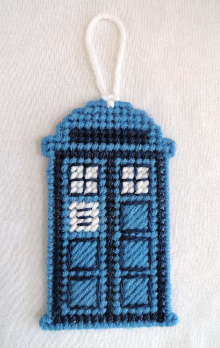 Dr. Who Tardis Police Call Booth Needlepoint on Plastic Canvas Back by Sue Roddy of 2 Crafty Gals Boutique