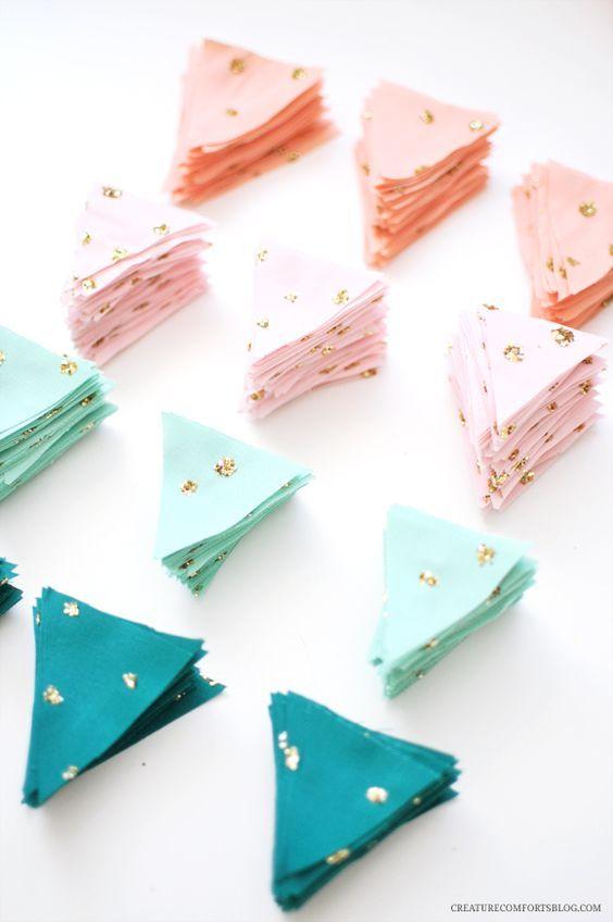 Wimpelkette Pastell & Glitzer selber machen *** DIY Glittered Fabric Garland