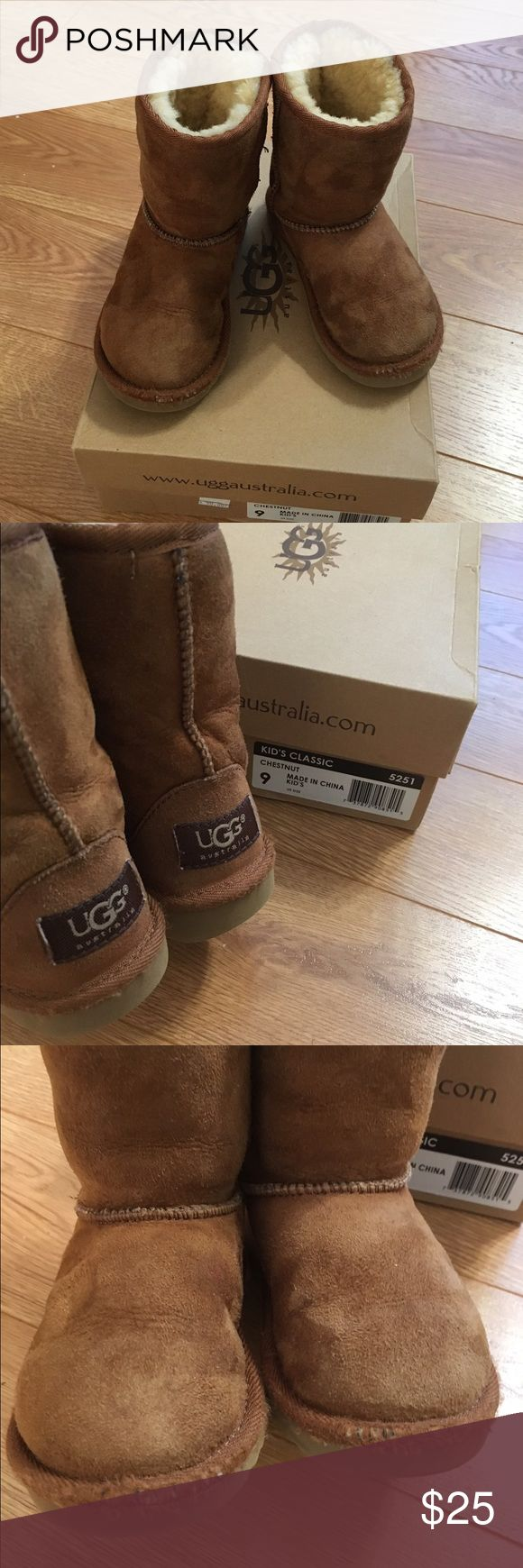 Toddler Ugg Chestnut Boots GUC Toddler Ugg Chestnut Boots. Worn several times by my son. Smoke and pet free home. No holes or tears. Slightly frayed at seams of the tops of toes (see pictures) other than that great condition. Thanks for looking! UGG Shoes Boots