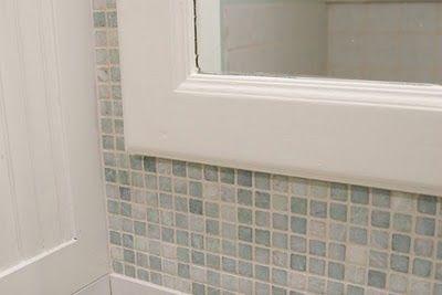 Pretty greenish white tiles around a mirror for the bathroom: White Tile, Improvement