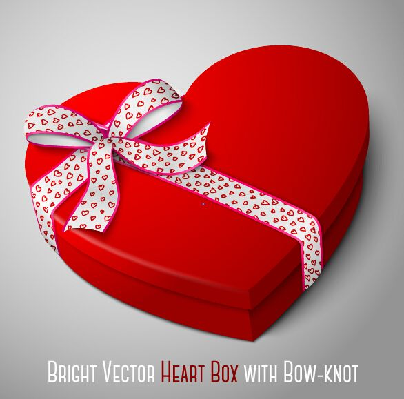 Bright heart box with bow knot vector