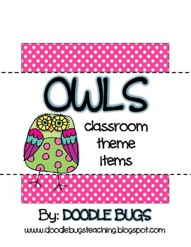 Owl Classroom Theme Items {calendar cards, days of the week, months of the year, deskplates, word wall cards, nametags, etc..}