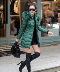 Wish | New Women's Long Coat Cotton Padded Jacket Slim Winter Coat Fur Collar Big Loose Outwear
