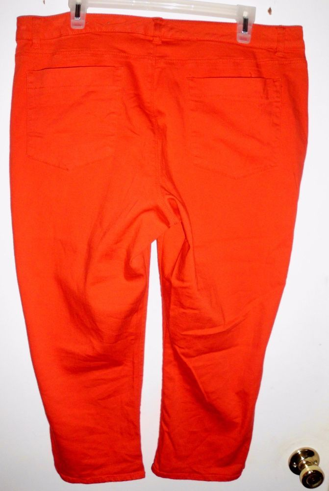 COLDWATER CREEK Coral Cropped Capris Stretch Jeans Pants Sz 16 Women EUC #ColdwaterCreek #CapriCropped