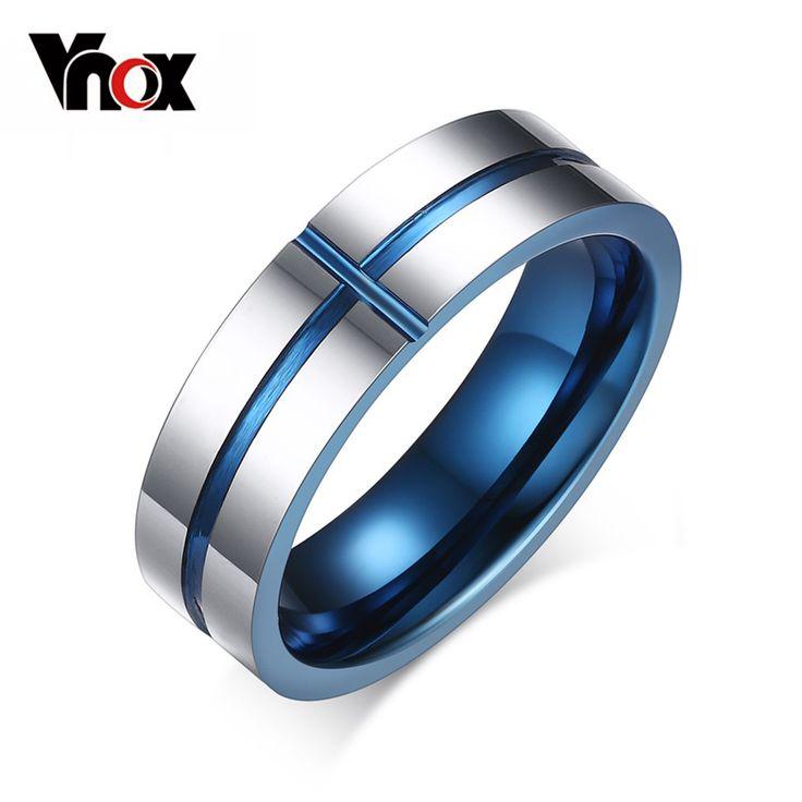 Vnox 2016 New 100% Tungsten Carbide Rings 6mm Wedding Bands Men's Jewelry Cross Design