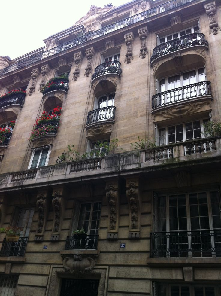 Flower-lined balconies in Paris.