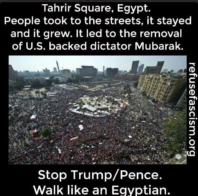 Tahrir Square, Egypt. People took to the streets, it stayed and it grew. It led to the removal of US backed dictator Mubarak. Stop Trump / Pence. Walk like an Egyptian!