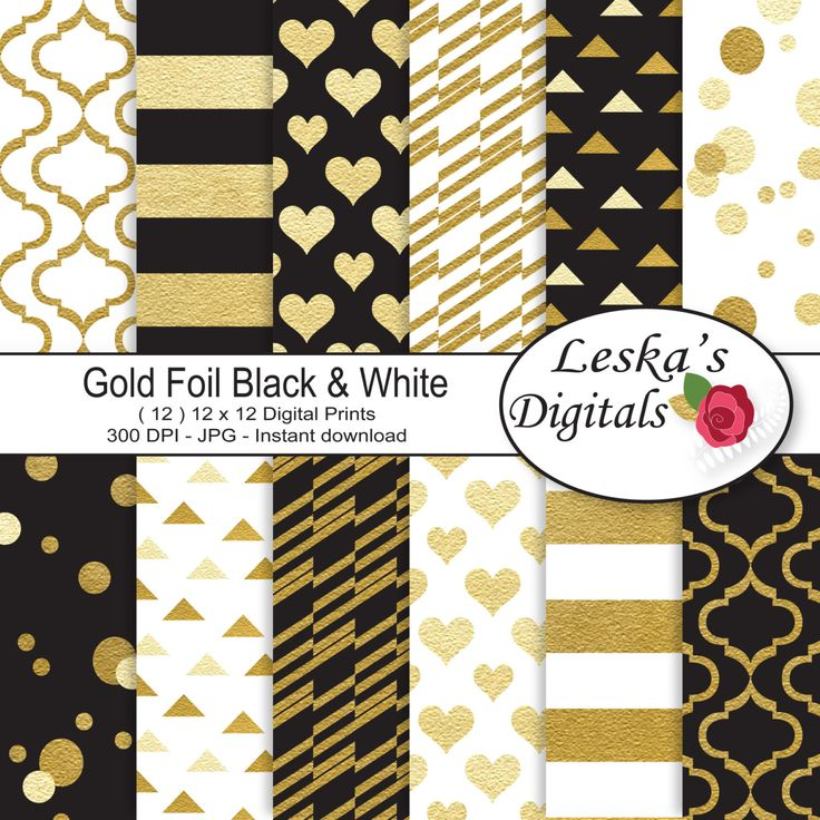Gold foil digital paper - Gold Black and White digital scrapbook paper - Gold foil background pattern - pinned by pin4etsy.com