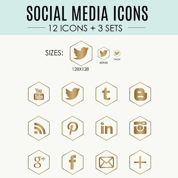 Warm Gold Social Media Icons // 12 Icons  3 Sets //  by kemidesign, $7.00