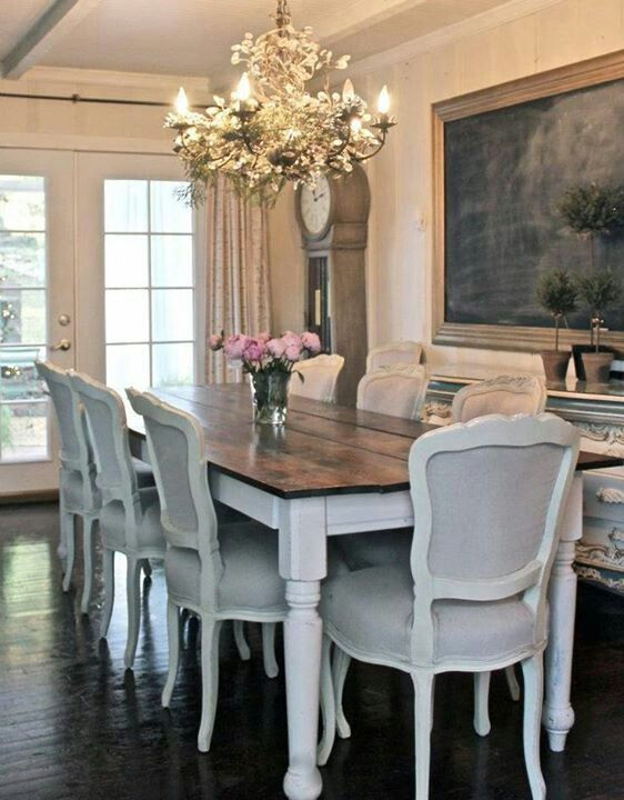 25 best ideas about dining room chairs on pinterest for Farmhouse dining room table set