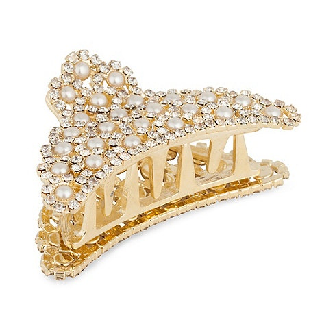 Mood Pearl And Crystal Embellished Gold Bulldog Hair Clip