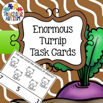Enormous Turnip Counting Task Cards   This download consists of two different types of task cards; circle the correct answer put a peg on the correct answer  Comes in color or black and white option. Counts up to 20. Students have to count the number of objects they can see then choose the correct answer - out of 3.  28 different task cards in total.