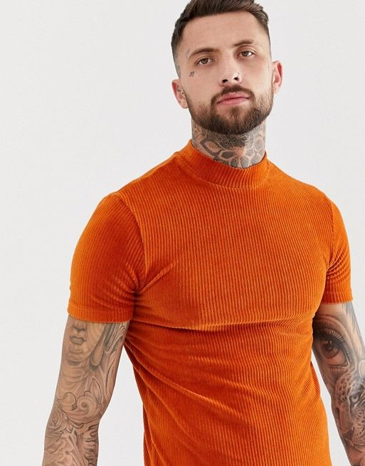 7488bad370242 DESIGN muscle t-shirt with stretch turtleneck in ribbed velour in ...