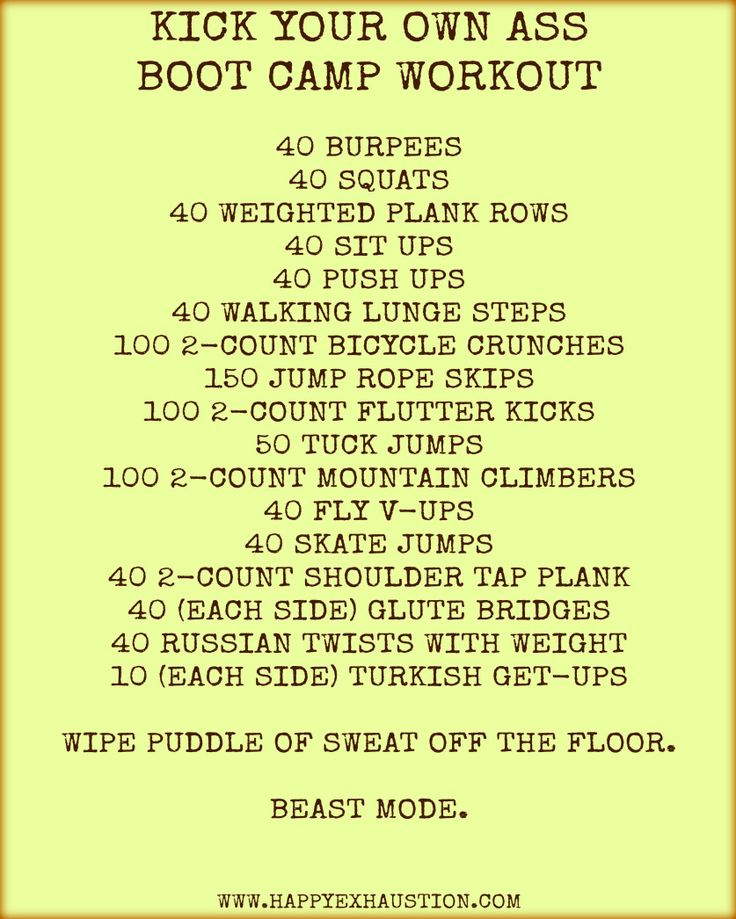 KICK YOUR OWN ASS BOOT CAMP WORKOUT Are you tough enough? #Challenge #Fitness Burpees, Planks, Squats, Tuck Jumps, Mountain Climbers, this beast workout has it all. Pin now, try when you feel like there's nothing you can't do.