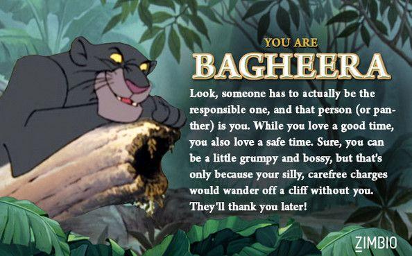 I took Zimbio's 'Jungle Book' quiz, and I'm Bagheera! Who are you? // Is Bagheera an ISFJ?