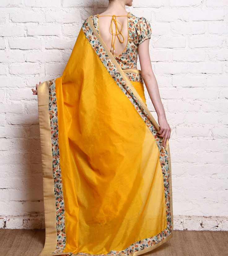 Yellow Handwoven & Printed Chanderi Saree  #Chanderi #Sarees