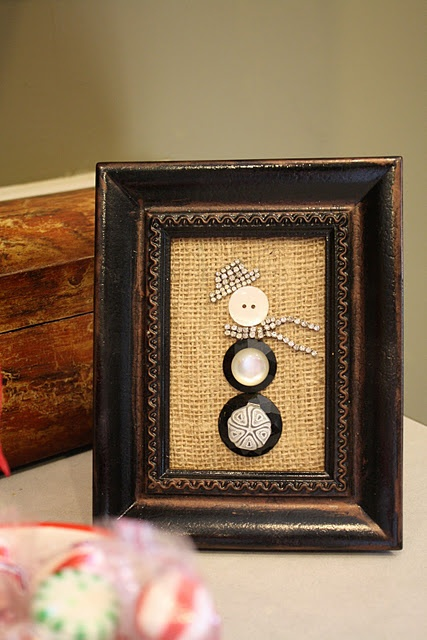 Button snowman, just too cute!Vintage Buttons, Crafts Ideas, Girls Crafts, Old Frames, Old Jewelry, Winter Decor, Christmas Decor, Buttons Snowman, Christmas Ideas