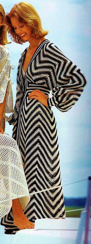 Zigzag Beach Caftan or Swimsuit Coverup Vintage Crochet