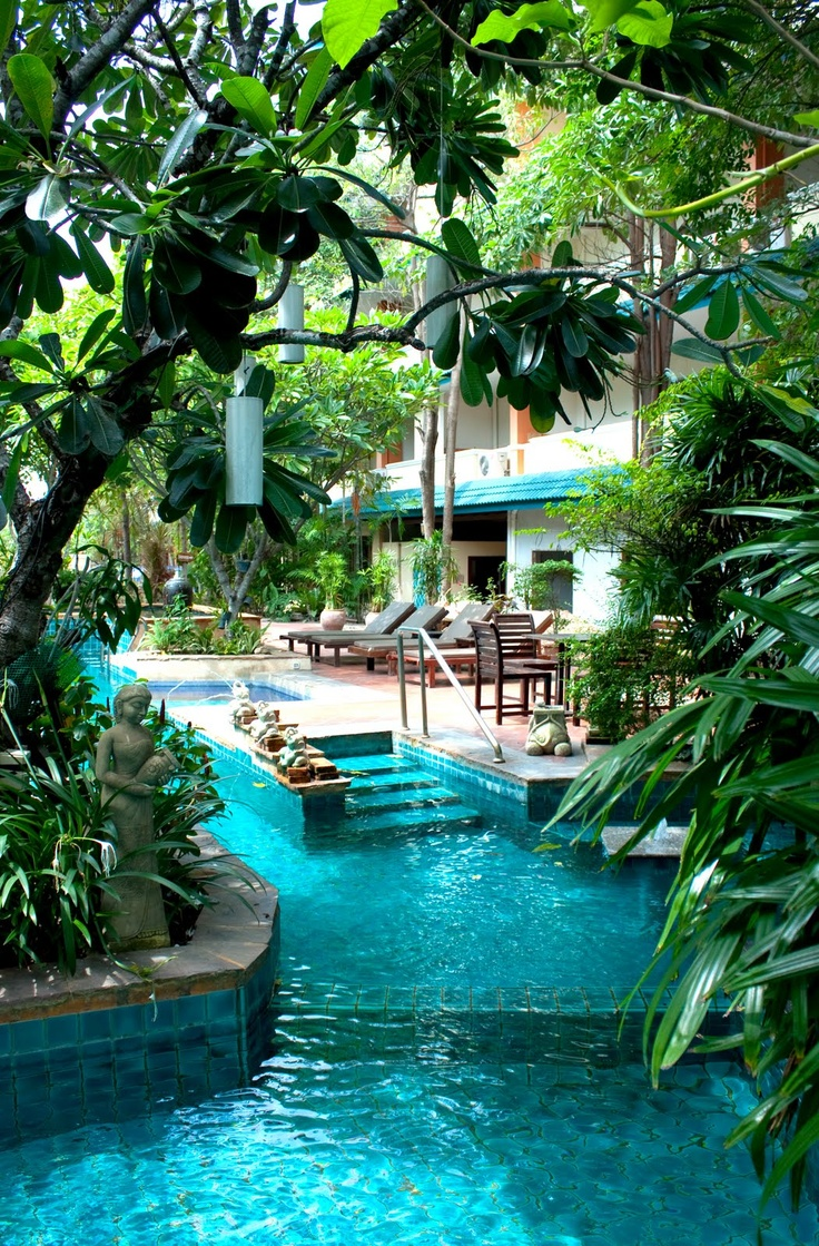 this pool is in a hotel in Pattaya, Thailand - perfect private pool, instead of the usual towel-shaped ones