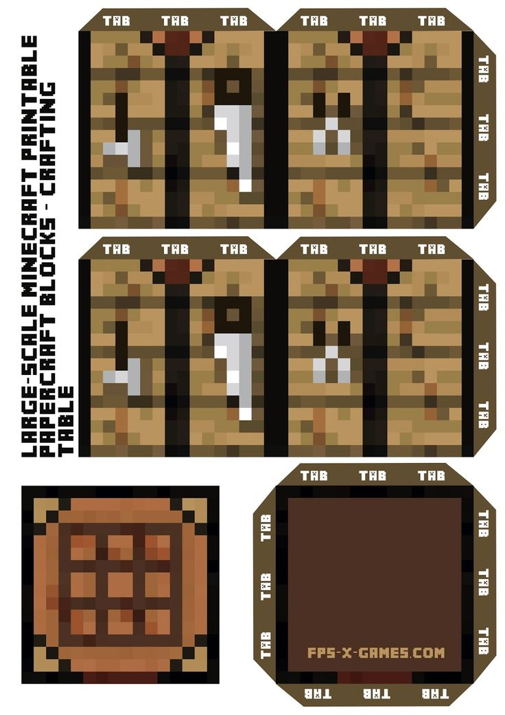 Large Scale Minecraft Crafting Table Block Minecraft