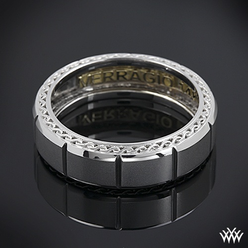 White Gold Verragio Beveled Chamber Wedding Ring This Men's Verragio Wedding Ring features a compelling design that will highlight your guys individuality without overpowering it.