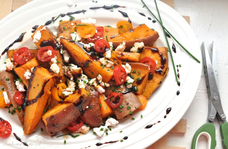 Geroosterde zoete aardappelen met Geitenkaas  