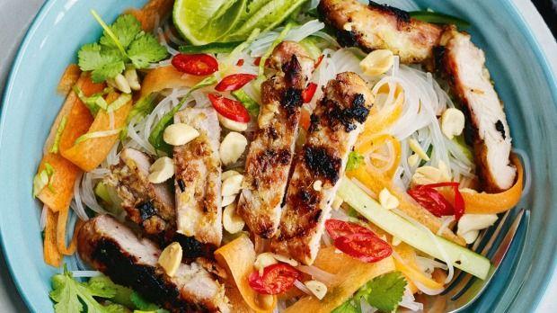 Lemongrass chicken with vermicelli salad